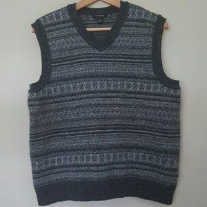 Gray 100% Wool Sweater Vest Mens L